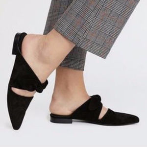 Jeffrey Campbell Black Suede CHARLIN BOW Mules 7.5